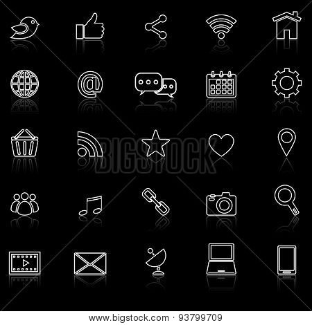 Social Media Line Icons With Reflect On Black