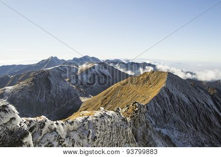 Snowy mountain ridge in the winter