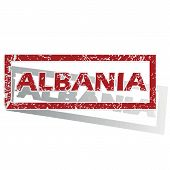 picture of albania  - Outlined red stamp with country name Albania - JPG