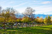 picture of chalet  - Landscape with the wooden fence - JPG