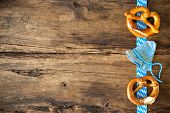 image of pretzels  - Oktoberfest festival background with beer mug - JPG