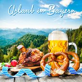 foto of pretzels  - Roasted pork knuckle with pretzels and beer - JPG