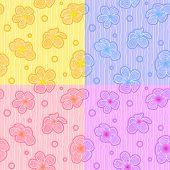 stock photo of plumeria flower  - Plumeria flower pattern background  4 tone is yellow purple pink and orange - JPG