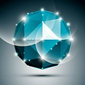 stock photo of twinkle  - Abstract 3D sapphire festive sphere with sparkles - JPG