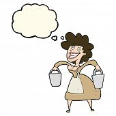 image of milkmaid  - cartoon milkmaid carrying buckets with thought bubble - JPG