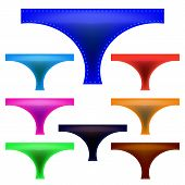 stock photo of panties  - Set of Colorful Panties Isolated on White Background - JPG