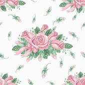 foto of rose bud  - Watercolor Floral seamless pattern with pink roses  - JPG