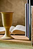 foto of chalice  - stilllife with chalice of wine and bible - JPG