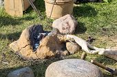 picture of mites  - ancient clay forge furs hammer mites and other tools - JPG