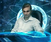 stock photo of fantastic  - a man in a white shirt in the scientific fantastic atmosphere - JPG
