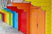 picture of beach hut  - colourful paint wooden Victorian beach hut at the seaside - JPG