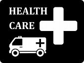 pic of ambulance  - black icon with white ambulance car silhouette - JPG