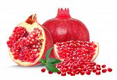 image of pomegranate  - pomegranate and slice pomegranates isolated on white - JPG