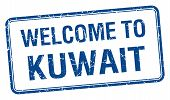 picture of kuwait  - welcome to Kuwait blue grunge square stamp - JPG