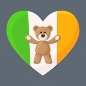 foto of visitation  - Teddy Bears with heart with flag of Ireland - JPG