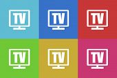 stock photo of tv sets  - tv flat design modern vector icons set for web and mobile app - JPG
