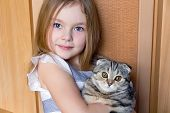 picture of kitty  - Image of beautiful girl with grey kitty - JPG