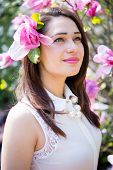 pic of magnolia  - beautiful dreamy girl with magnolia flower in her hair - JPG