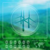 foto of generator  - Transparent ecology icon on the blurred photo background - JPG