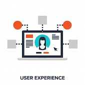stock photo of experiments  - Abstract vector illustration of user experience flat design concept - JPG