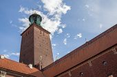 stock photo of city hall  - View of the Tower of Stockholm City Hall - JPG