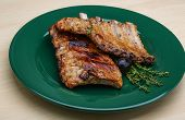 foto of roasted pork  - Roasted pork ribs with thyme and spices  - JPG