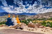 pic of jammu kashmir  - Three colourful buddhist religious stupas at Leh Ladakh Jammu and Kashmir India - JPG