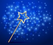 image of faerie  - Golden magic wand on blue sparkle background - JPG