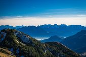pic of bavarian alps  - View from Wendelstein into the Bavarian and Austrian Alps - JPG