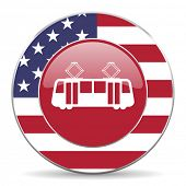 stock photo of tram  - tram american icon original modern design for web and mobile app on white background  - JPG