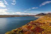 stock photo of chukotka  - Colorful autumn tundra and river Amguema Chukotka - JPG