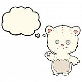 foto of bear cub  - cartoon polar bear cub waving with thought bubble - JPG