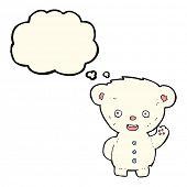 picture of bear cub  - cartoon waving polar bear cub with thought bubble - JPG