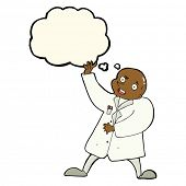 foto of mad scientist  - cartoon mad scientist with thought bubble - JPG