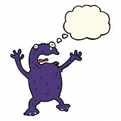 picture of poison  - cartoon poisonous frog with thought bubble - JPG