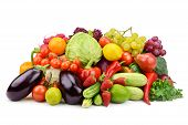 stock photo of brinjal  - vegetables and fruits isolated on white background - JPG