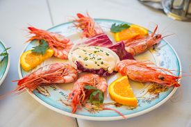stock photo of shrimp  - Dish with shrimp on the table in the restaurant - JPG