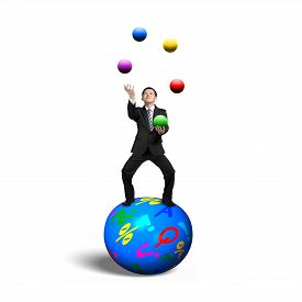 pic of juggling  - Businessman balancing on sphere juggling with balls isolated on white background - JPG