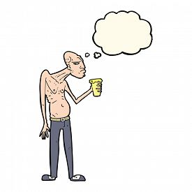 image of hooligan  - cartoon hooligan with thought bubble - JPG