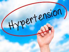 stock photo of hypertensive  - Man Hand writing Hypertension with black marker on visual screen - JPG
