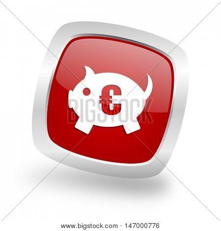 piggy bank square glossy red chrome silver metallic web icon