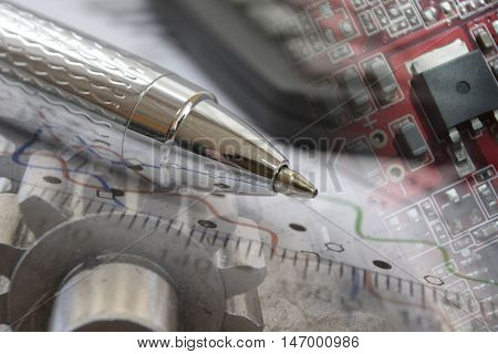 Business background with graph gear electronic device and pen.