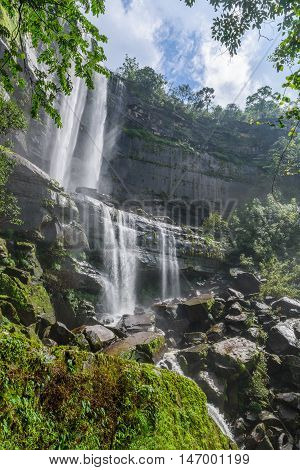 Landscape of Tad Huay Ping waterfall in deep rain forest of Bolaven Plateau Champasak Laos.