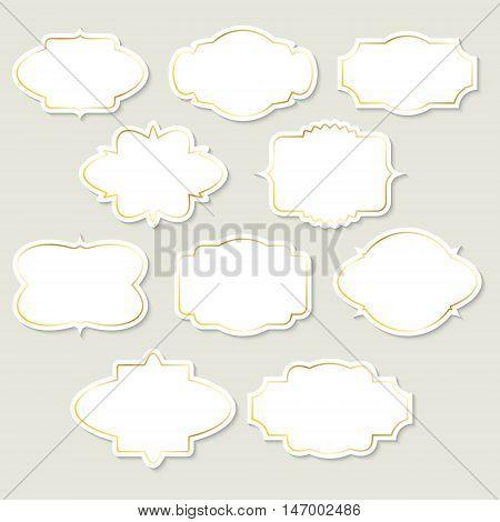 Set of white vintage labels with gold frames