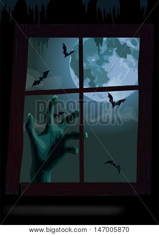 Halloween night window view: full moon bat rearmouse flittermouse spiderweb fearful zombie hand scary rush. Terrible vector vertical closeup illustration sign signboard image to celebration holiday
