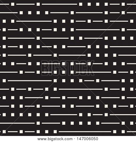 Vector Seamless Black And White Irregular Horizontal Lines Pattern. Abstract Geometric Background Design