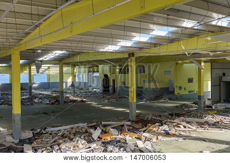 image of view of an abandoned warehouse