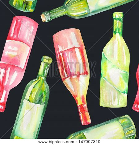 A seamless pattern with the hand-drawn wine bottles. Painted in a watercolor on a dark background.