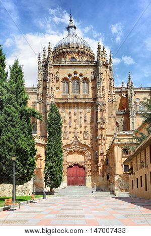 Patio Chico between Old and New Cathedrals in Salamanca, Spain