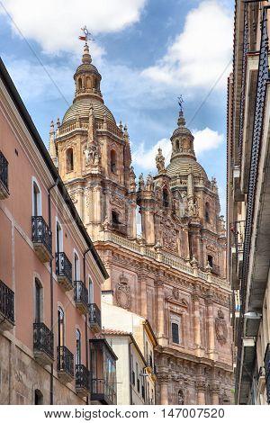 The baroque portal of Iglesia de La Clerecia - Pontifical University in Salamanca, Spain
